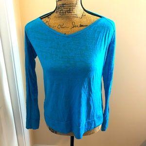 Marika Long Sleeve Teal Blue Yoga Pilates Top Sz M